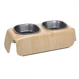 Hagen Catit - Двойная металлическая миска для кошек, с отделкой под дерево ВЫСОКАЯ