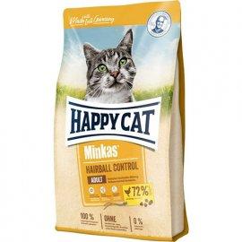 Happy Cat MINKAS HAIRBALL CONTROL корм для профилактики волосянных комочков у взрослых кошек, ПТИЦА