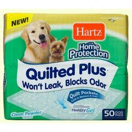 Hartz HOME PROTECTION QUILTED PLUS Супервпитывающие стеганные пеленки для собак с ароматом пудры (53х53 см), 50 шт.