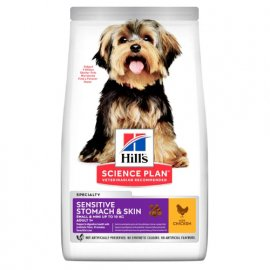Hill's Science Plan SENSITIVE STOMACH SKIN SMALL & MINI корм для маленьких собак с чувствительной кожей и пищеварением, 1,5 кг