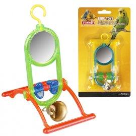 Flamingo (Фламинго) MIRROR+BELL Игрушка для попугаев зеркало с колокольчиком и жердочкой