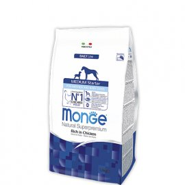 Monge MEDIUM STARTER FOR MOTHER AND BABY сухой корм для щенков средних пород КУРИЦА и РИС