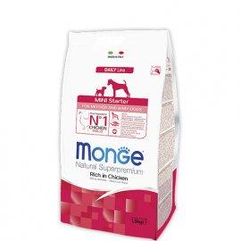 Monge MINI STARTER FOR MOTHER AND BABY сухой корм для щенков мелких пород КУРИЦА и РИС