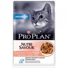 Pro Plan (Про план) Nutrisavour HOUSECAT (ХАУСКЭТ) консервы для кошек кусочки лосося в подливе
