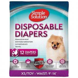Simple Solution DISPOSABLE DIAPERS X-SMALL TOY гигиенические подгузники для собак малых пород, 12 шт