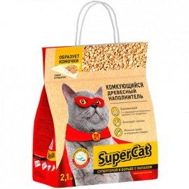 SUPER CAT Наполнитель Суперкет древесный КОМКУЮЩИЙСЯ (с совком), 2,1 кг