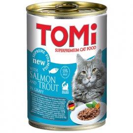 TOMi Salmon+trout консервы для кошек - кусочки в соусе ЛОСОСЬ и ФОРЕЛЬ