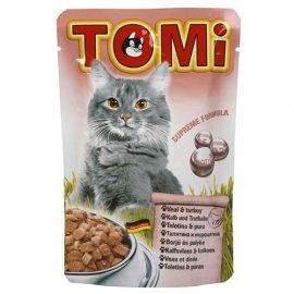 TOMi Veal+Turkey консервы для кошек - кусочки в соусе, телятина и индейка (пауч)