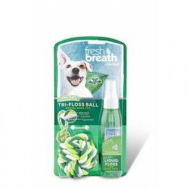 Tropiclean Liquid Floss RopeBall Набор для ухода за ротовой полостью для собак и кошек. Игрушка с жидкой зубочисткой