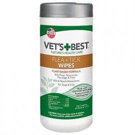 Vets Best FLEA TICK WIPES влажные салфетки от насекомых для собак и кошек, 50 шт