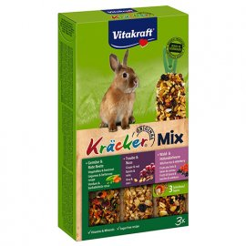 Vitakraft (Витакрафт) TRIO - MIX (ТРИО - МИКС ОВОЩИ, ЛЕСНЫЕ ЯГОДЫ И ОРЕХИ) крекер для кроликов, 3 шт